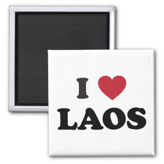 I Love Laos 2 Inch Square Magnet