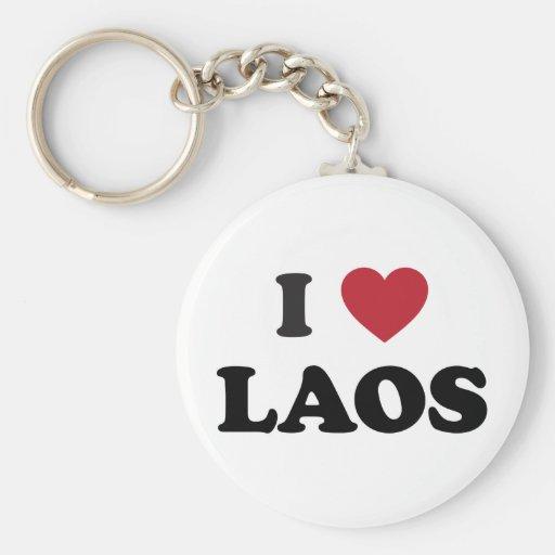 I Love Laos Basic Round Button Keychain