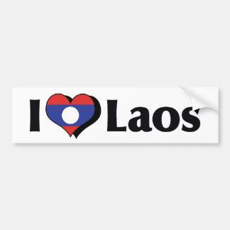 I Love Laos Flag Car Bumper Sticker