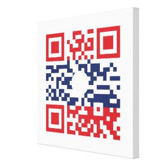 I Love Laos (Khoy Huk Lao) Flag QR Code | Lao Geek Canvas Print
