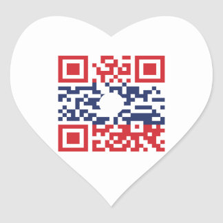 I Love Laos (Khoy Huk Lao) Flag QR Code | Lao Geek Heart Sticker