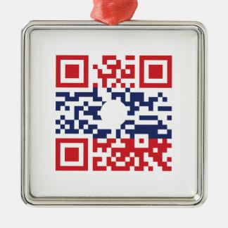 I Love Laos (Khoy Huk Lao) Flag QR Code   Lao Geek Metal Ornament