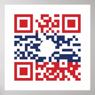 I Love Laos (Khoy Huk Lao) Flag QR Code | Lao Geek Poster