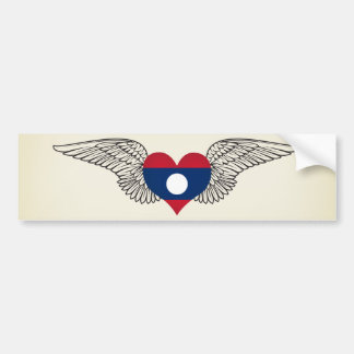 I Love Laos -wings Car Bumper Sticker