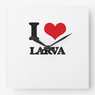 I Love Larva Square Wallclock