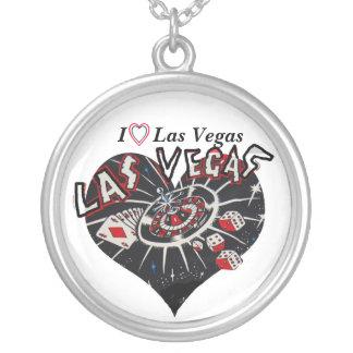 I Love Las Vegas Heart Round Pendant Necklace