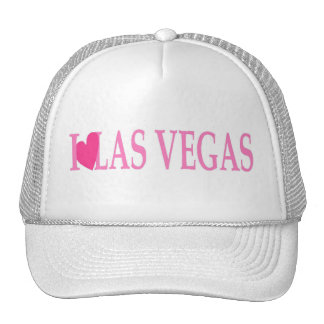 I LOVE Las Vegas (Pink Heart) on White Cap! Trucker Hat