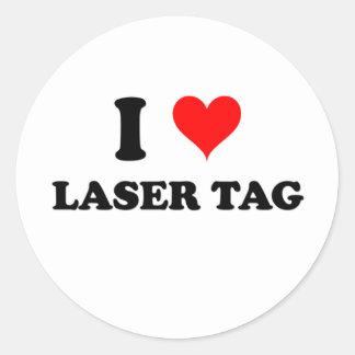 I Love Laser Tag Classic Round Sticker