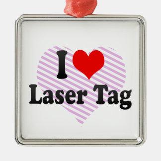 I love Laser Tag Square Metal Christmas Ornament