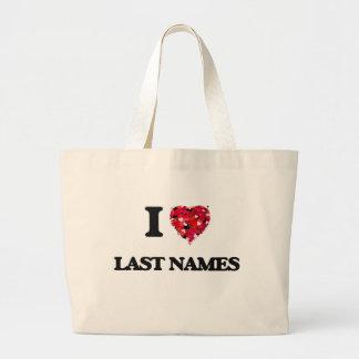 I Love Last Names Jumbo Tote Bag