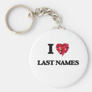 I Love Last Names Basic Round Button Keychain