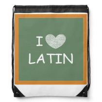 I Love Latin Drawstring Bag