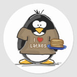 I Love Latkes Penguin Classic Round Sticker