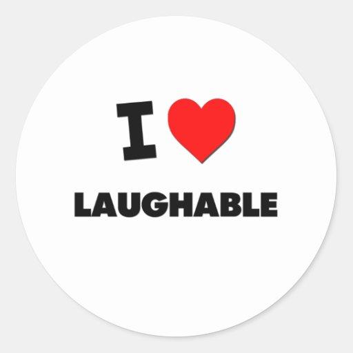 I Love Laughable Classic Round Sticker