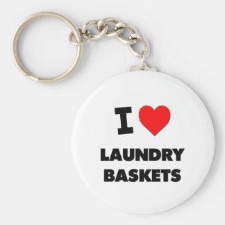 I Love Laundry Baskets Keychains