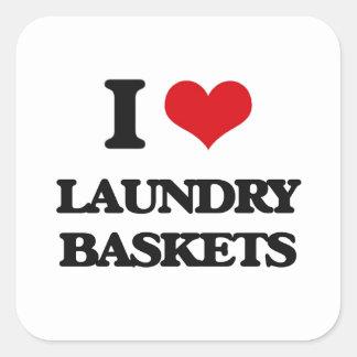 I Love Laundry Baskets Square Sticker