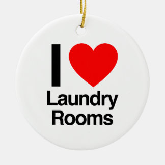 i love laundry rooms Double-Sided ceramic round christmas ornament
