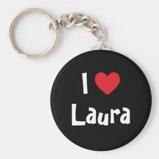 I Love Laura Basic Round Button Keychain