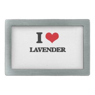 I Love Lavender Rectangular Belt Buckle