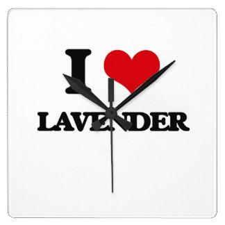 I Love Lavender Square Wall Clock