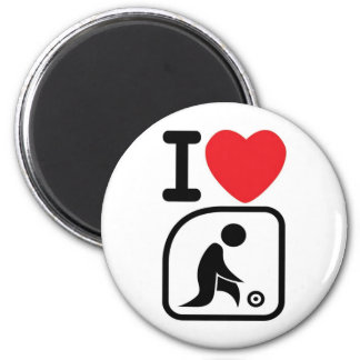 I love lawn bowls 2 inch round magnet