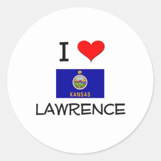 I Love LAWRENCE Kansas Classic Round Sticker