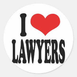 I Love Lawyers Classic Round Sticker