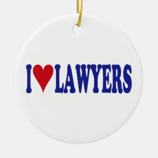 I Love Lawyers Double-Sided Ceramic Round Christmas Ornament