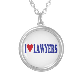 I Love Lawyers Round Pendant Necklace