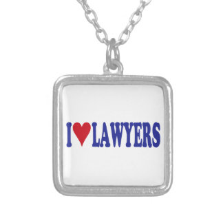I Love Lawyers Square Pendant Necklace