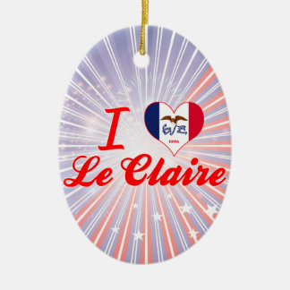 I Love Le Claire, Iowa Double-Sided Oval Ceramic Christmas Ornament