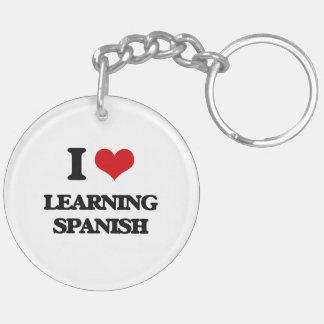 I love Learning Spanish Double-Sided Round Acrylic Keychain