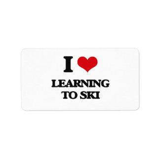 I love Learning To Ski Address Label