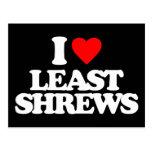 I LOVE LEAST SHREWS POSTCARD