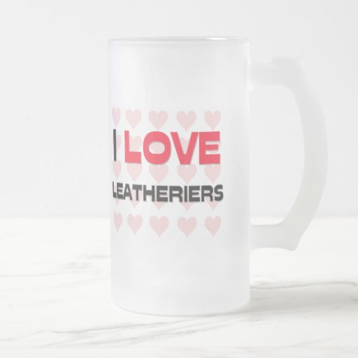 I LOVE LEATHERIERS 16 OZ FROSTED GLASS BEER MUG