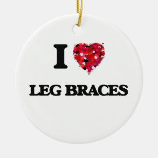 I Love Leg Braces Double-Sided Ceramic Round Christmas Ornament
