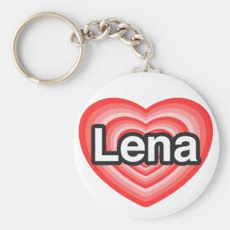 I love Lena. I love you Lena. Heart Keychain