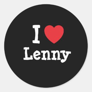 I love Lenny heart custom personalized Classic Round Sticker