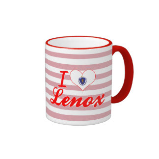 I Love Lenox, Massachusetts Ringer Coffee Mug