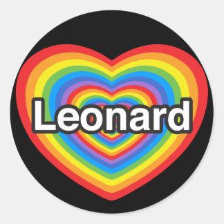 I love Leonard. I love you Leonard. Heart Classic Round Sticker