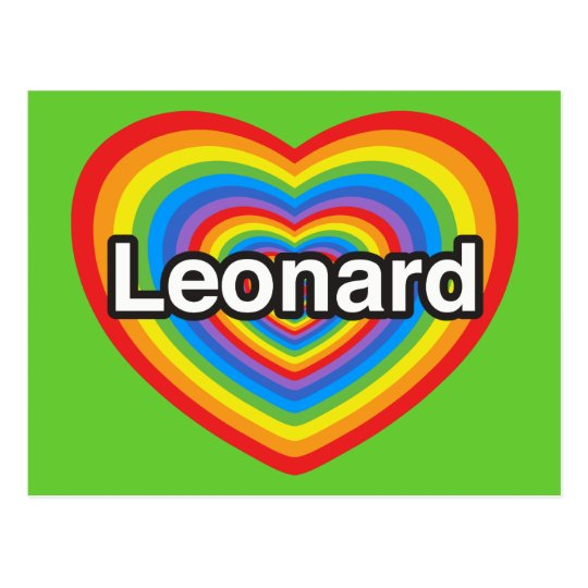 I love Leonard. I love you Leonard. Heart Postcard