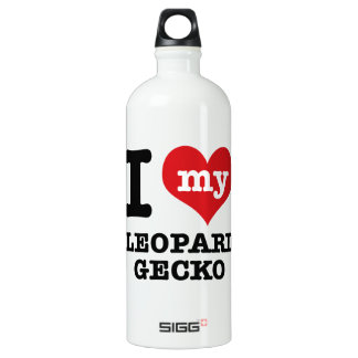 I love LEOPARD GECKO Aluminum Water Bottle