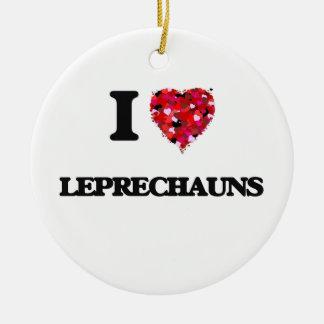 I Love Leprechauns Double-Sided Ceramic Round Christmas Ornament