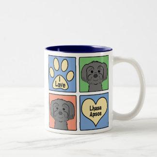 I Love Lhasa Apsos Two-Tone Coffee Mug