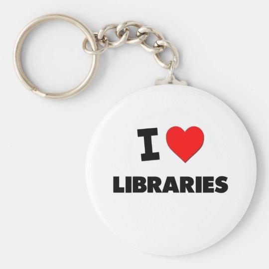I Love Libraries Keychain