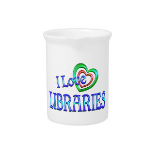 I Love Libraries Beverage Pitchers