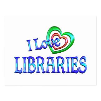 I Love Libraries Postcard