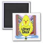 I Love Library Chicks 2 Inch Square Magnet