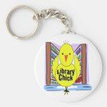 I Love Library Chicks Basic Round Button Keychain