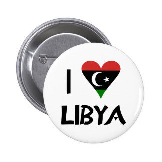 I Love Libya Black Letters 2 Inch Round Button